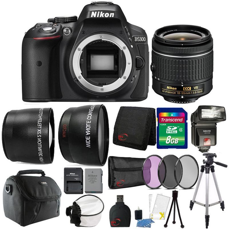 Details about Nikon D5300 24 2MP DSLR Camera 18-55mm Lens + TTL Flash &  Premium Accessory Kit