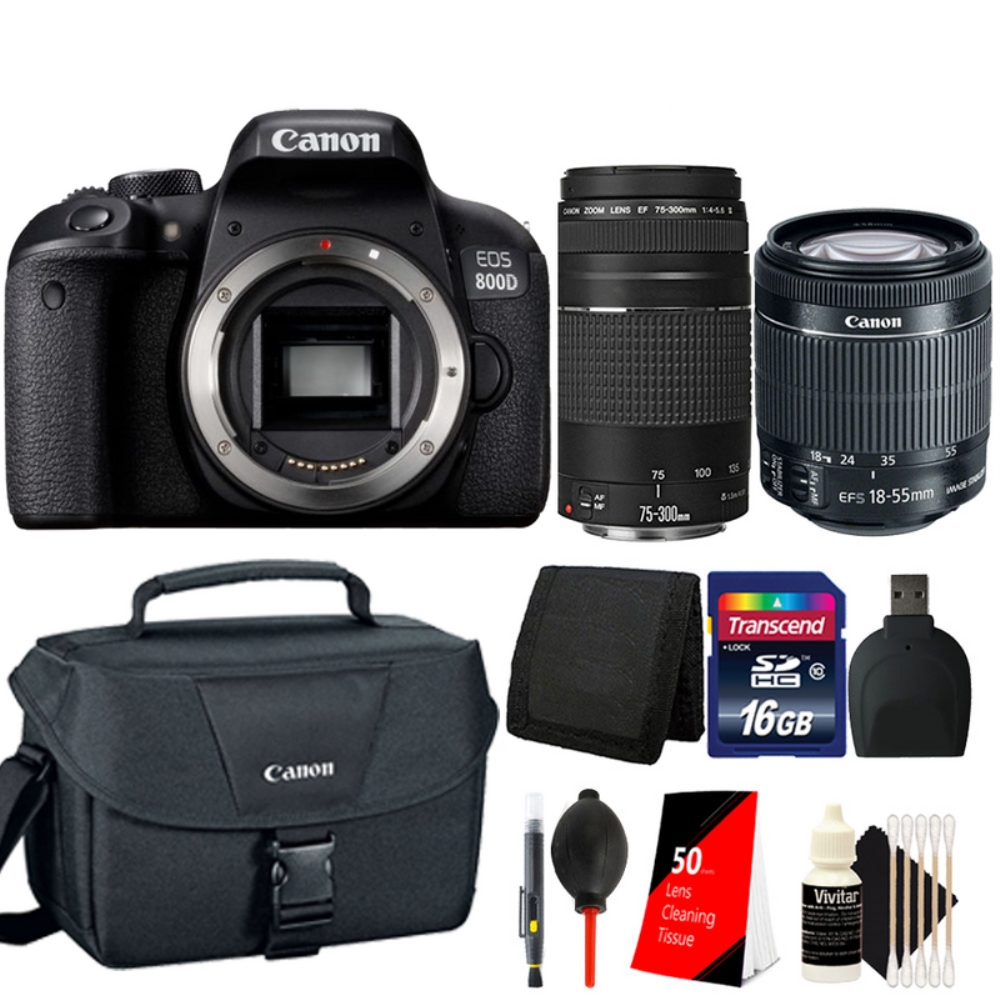 Details about Canon EOS 800D / T7i 24 2MP DSLR Camera with 18-55mm,  75-300mm and Canon Case