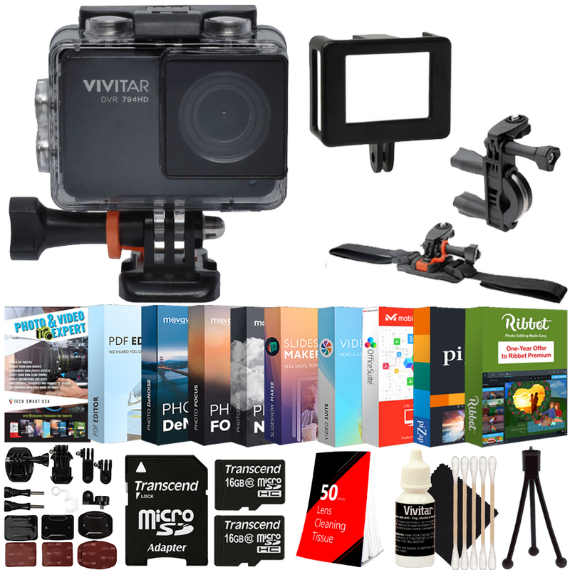 Air Vivitar DVR798HD LifeCam Navitech 50-in-1 Action Camera Accessories Combo KIt with EVA Case Compatible with The Vivitar DVR 936HD LifeCam Air
