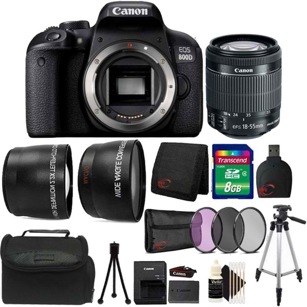 Details about Canon EOS 800D / T7i 24 2MP DSLR Camera with 18-55mm IS STM  Top Starter Bundle